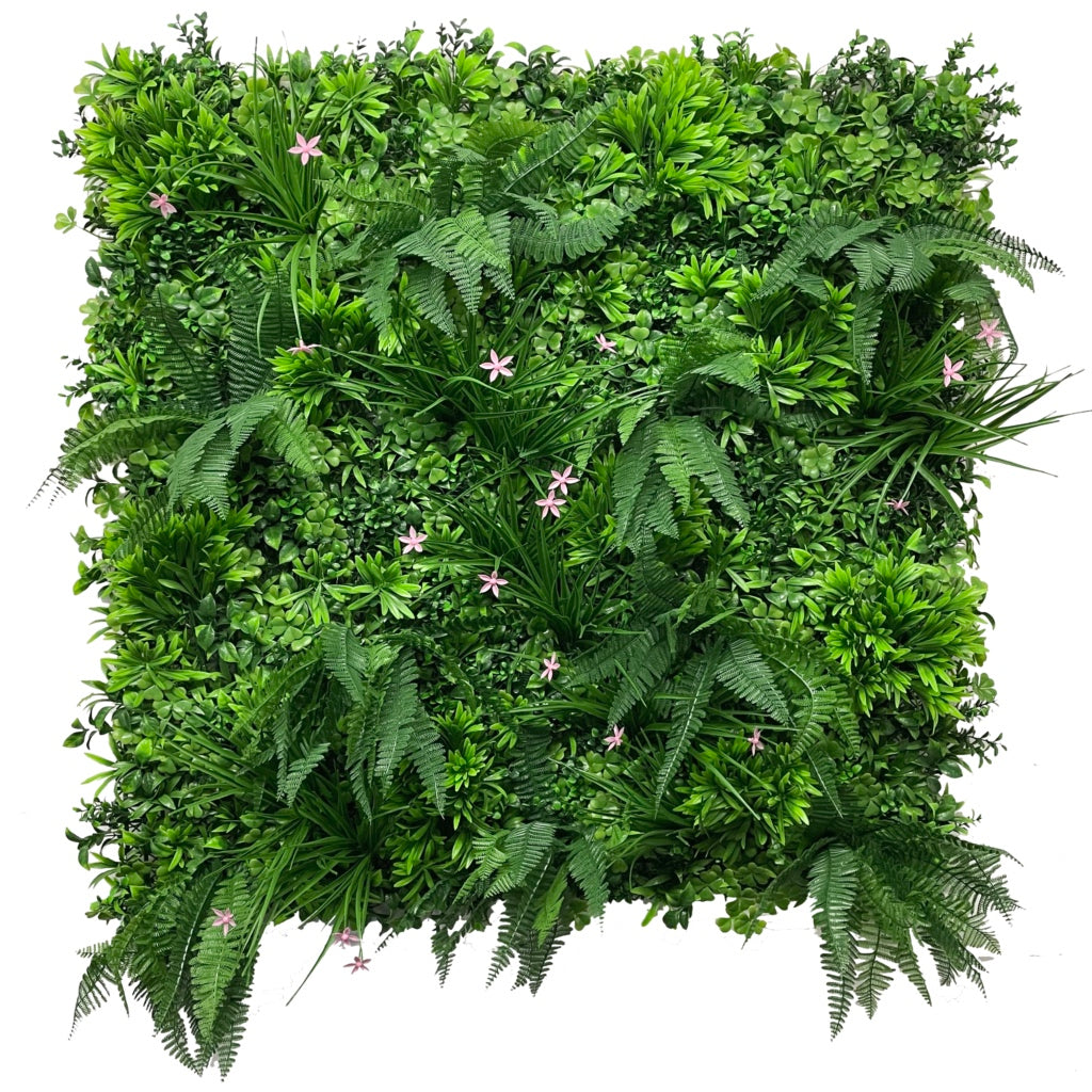 Artificial green wall panel with mixed 3d light-dark green foliage with scheffleras & pink flowers  100x100 cm
