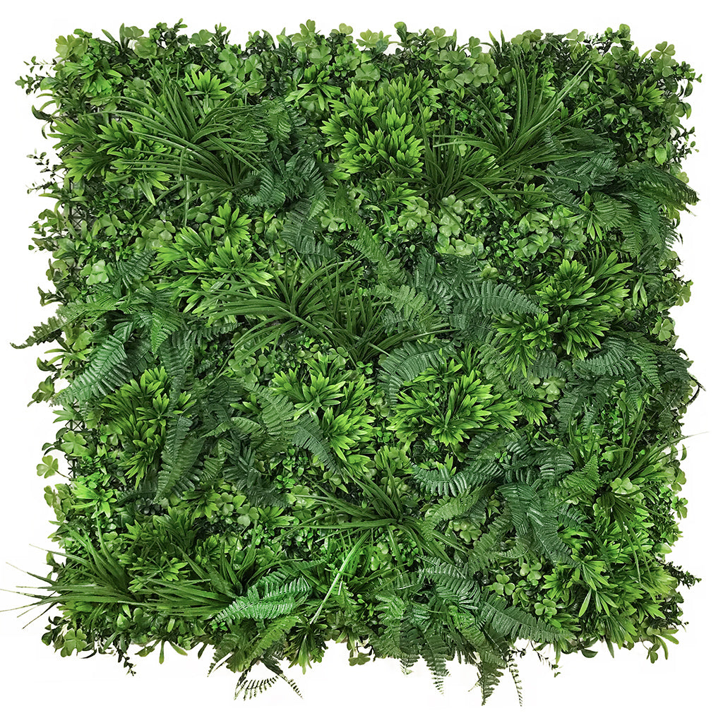 Artificial green wall panel with mixed 3d light-dark green foliage with scheffleras 100x100 cm