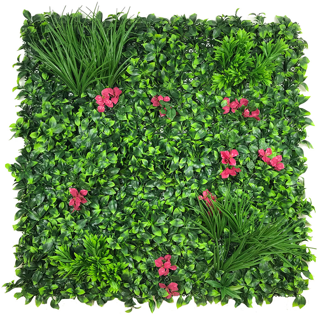 Artificial green wall panel with mixed foliage grasses and pink-red flowers 100x100 cm - www.greenplantwalls.co.uk