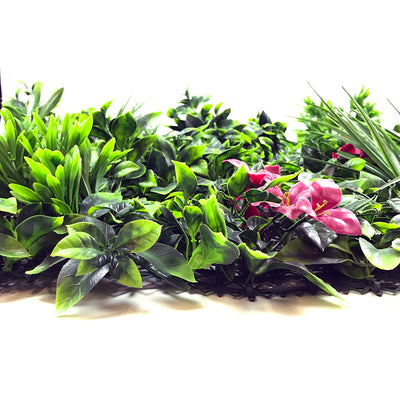 Artificial green wall panel with mixed foliage grasses and pink-red flowers 100x100 cm