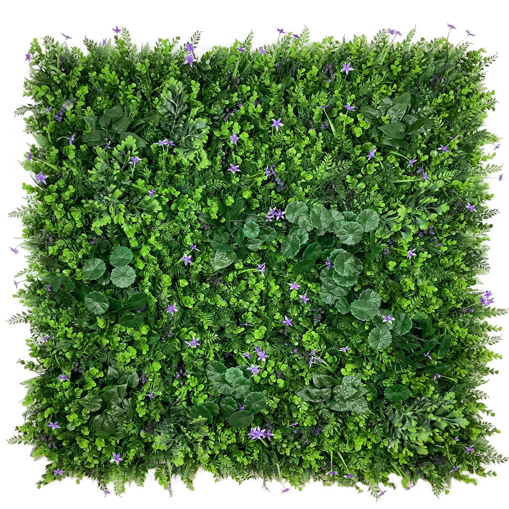 Artificial green wall mixed plant panel with purple flowers 100x100 cm - www.greenplantwalls.co.uk