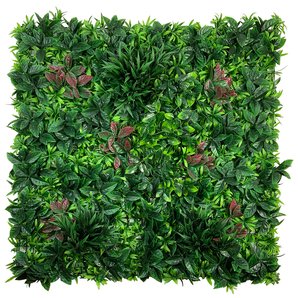 Artificial green wall mixed green panel with trailing plant, palm grass and green red foliage 100x100 cm