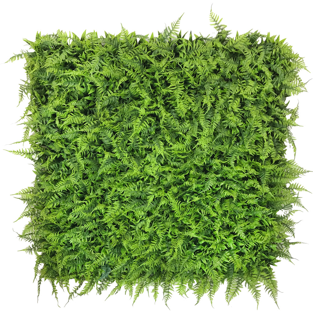 Artificial green wall plant panel with Boston fern and palms 100x100 cm - www.greenplantwalls.co.uk