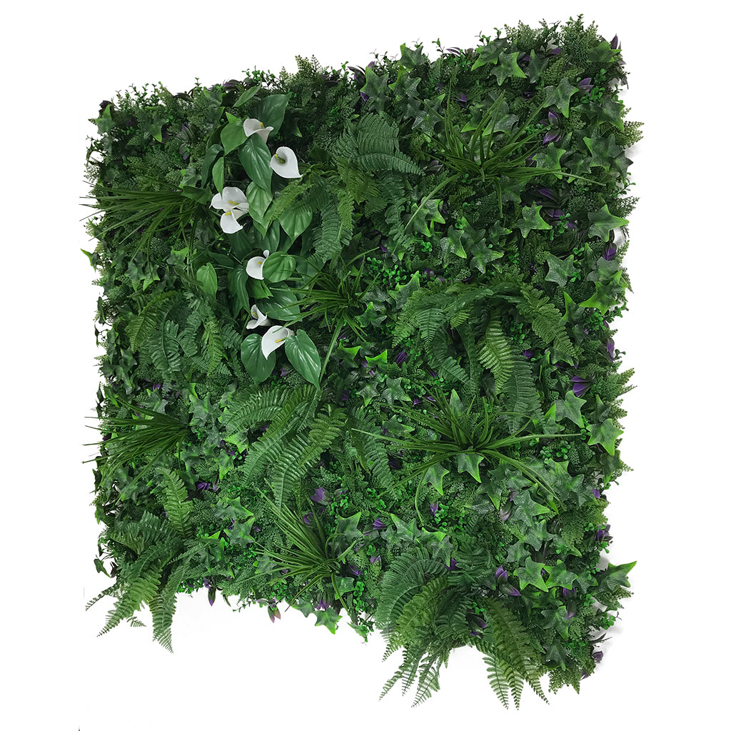 Artificial green wall mixed plant panel with ferns and grasses & calla lillies 100x100 cm