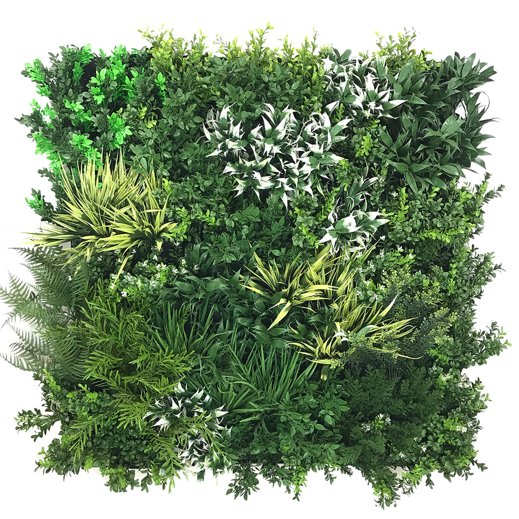Artificial premium 3D plant wall with green, yellow and white foliage - fire retardant - 100x100cm - www.greenplantwalls.co.uk