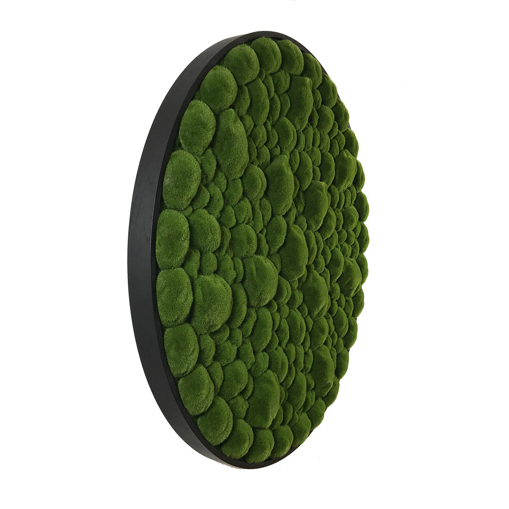 Artificial bun moss wall circular art panel MDF Black - 80cm