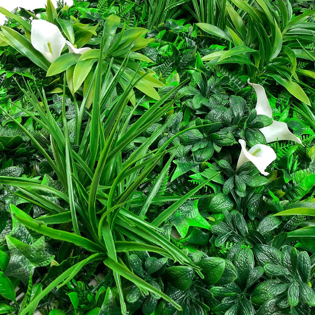 Artificial green wall panel with variegated foliage and calla lillies 100x100 cm