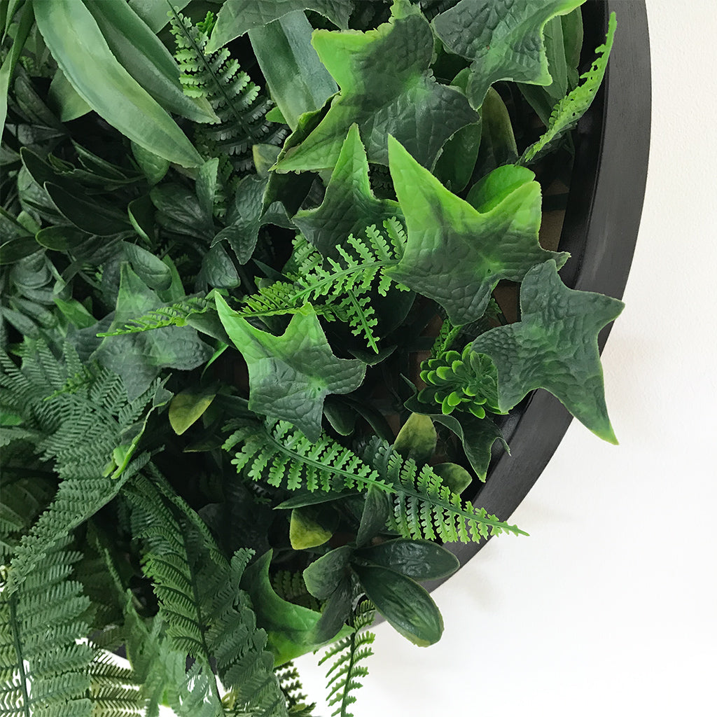 Artificial green foliage wall circular art panel MDF 50 cm black