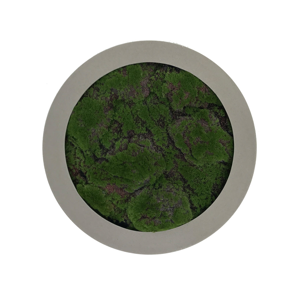 Artificial lumpy moss circular art panel GRP concrete-stone effect