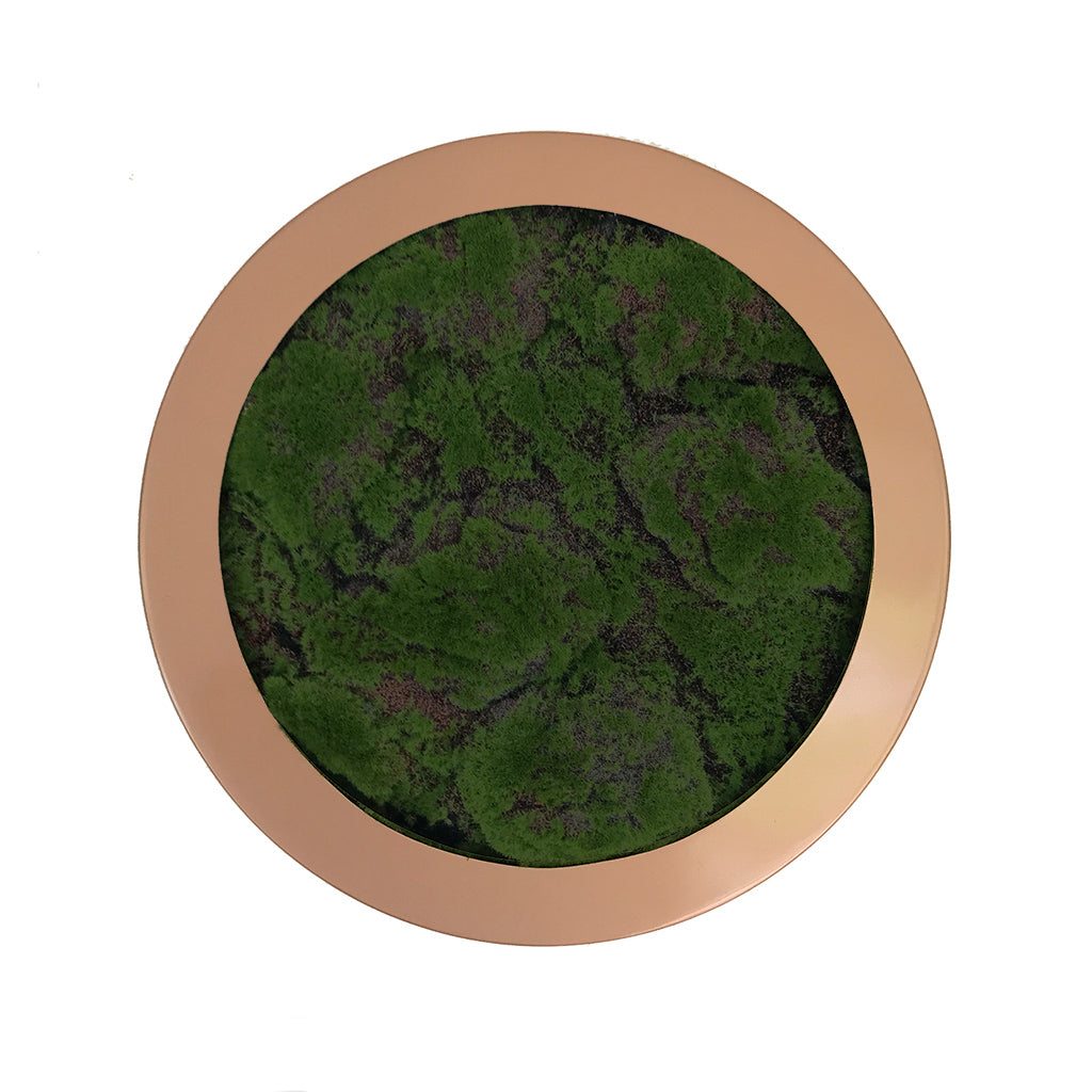 Artificial lumpy moss circular art panel GRP bronze finish