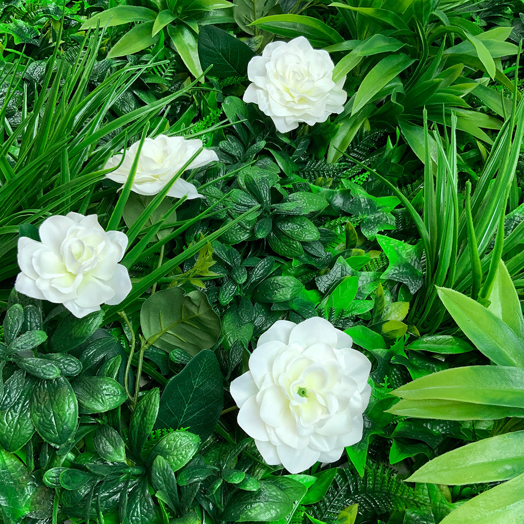 Artificial green wall panel with variegated foliage and gardenias 100x100 cm - www.greenplantwalls.co.uk