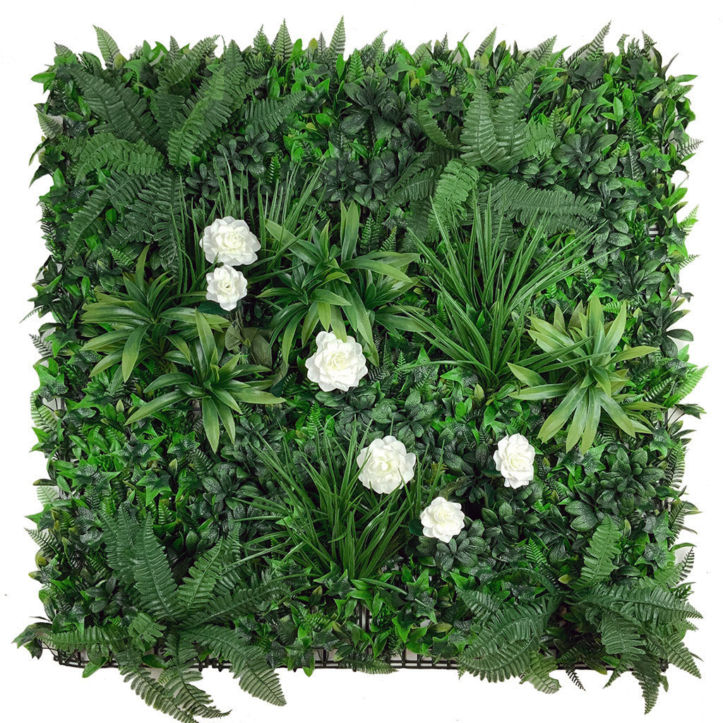 Artificial green wall panel with variegated foliage and camellias 100x100 cm