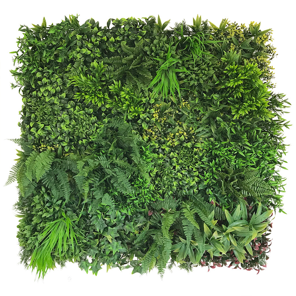 Artificial green wall panel with mixed green & yellow foliage & purple-red leaves 100x100 cm