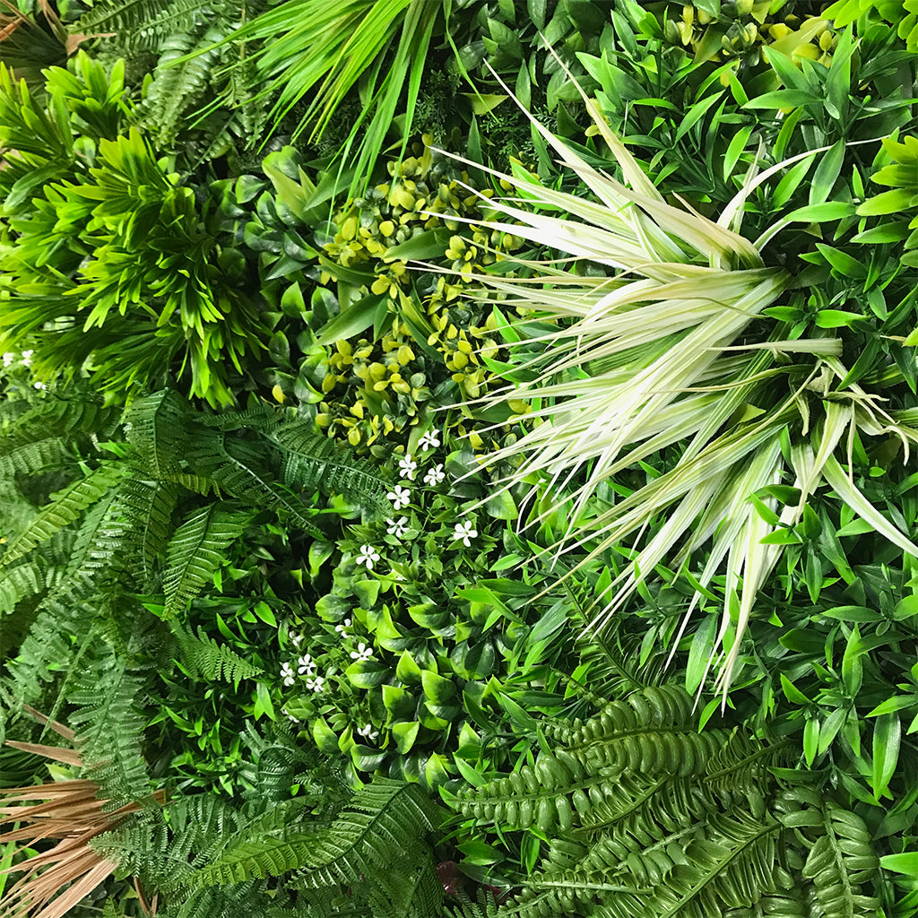 Artificial green wall panel with variegated mixed green, yellow, red foliage & white flowers 100x100 cm