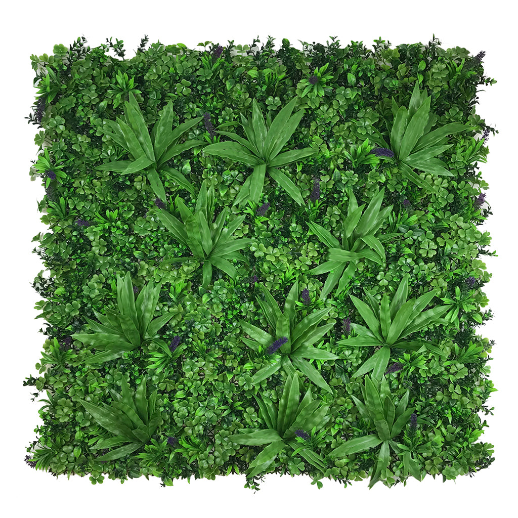 Artificial green wall panel with mixed foliage, palm heads and purple flowers 100x100 cm - www.greenplantwalls.co.uk