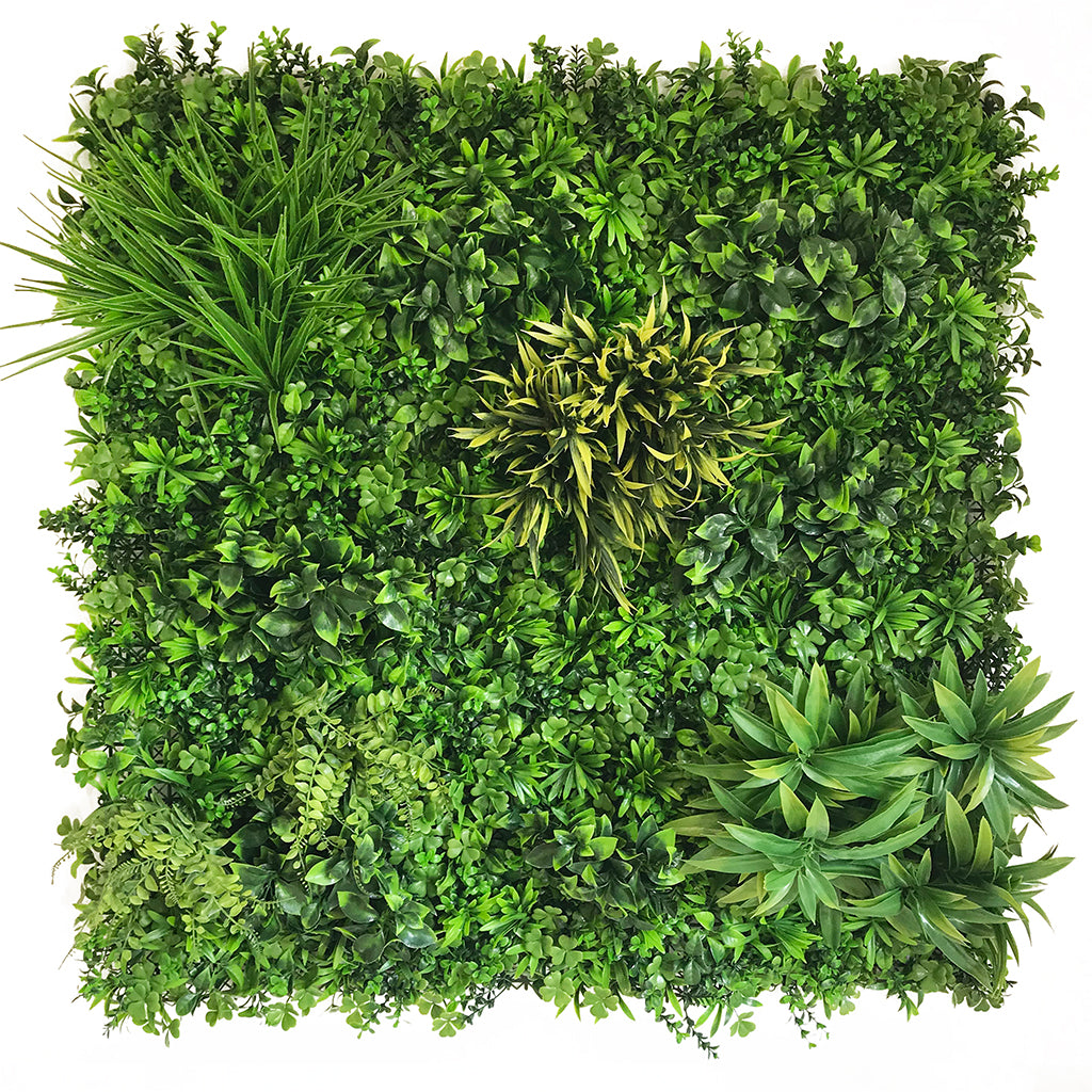 Artificial green wall panel with mixed foliage, ferns, grasses and palm heads 100x100 cm - www.greenplantwalls.co.uk