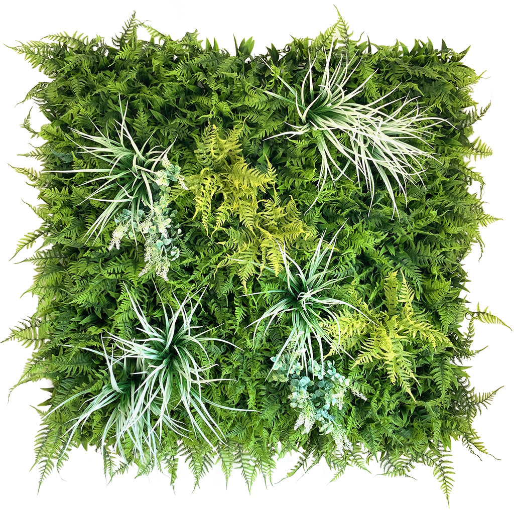 Artificial green wall panel with Boston ferns, grasses and white flowering bushes 100x100 cm - www.greenplantwalls.co.uk