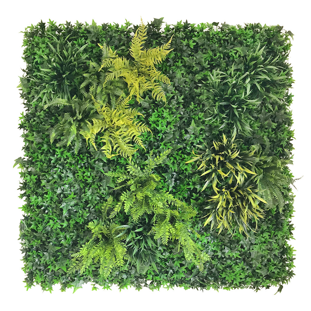 Artificial green wall panel with ivy and mixed foliage 100x100 cm - www.greenplantwalls.co.uk