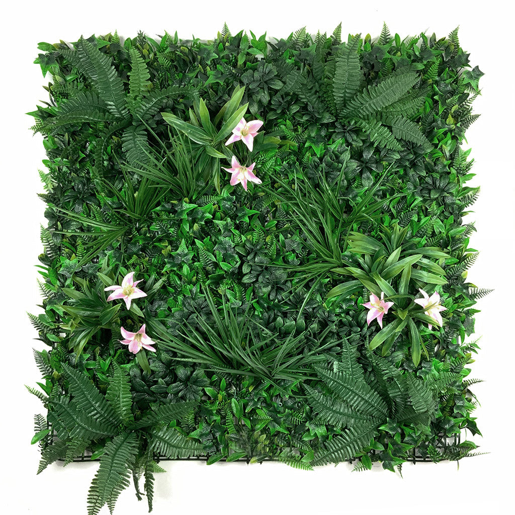Artificial green wall panel with variegated foliage and classic pink lillies 100x100 cm