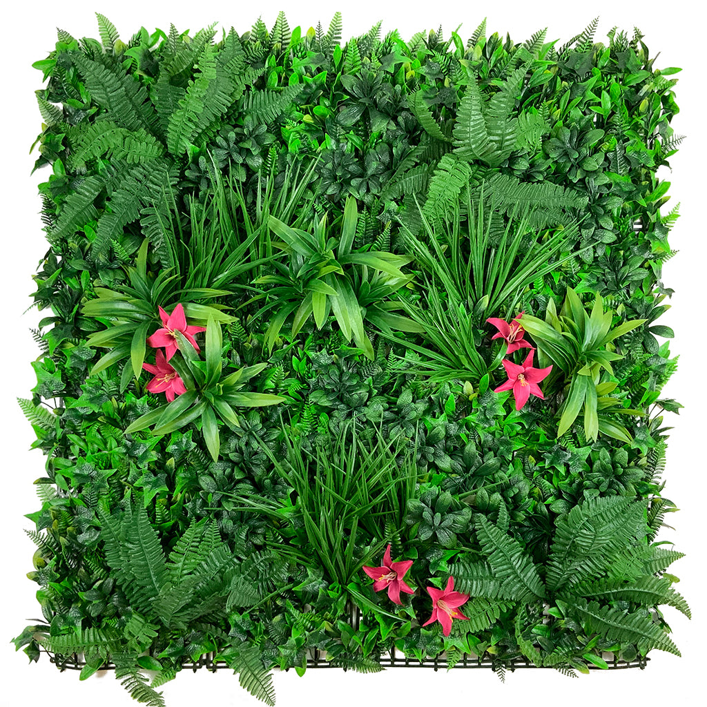 Artificial green wall panel with variegated foliage and classic dark pink lillies 100x100 cm