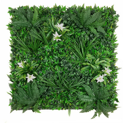 Artificial green wall panel with variegated foliage and classic white lillies 100x100 cm