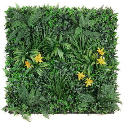 Artificial green wall panel with variegated foliage and classic yellow lillies 100x100 cm