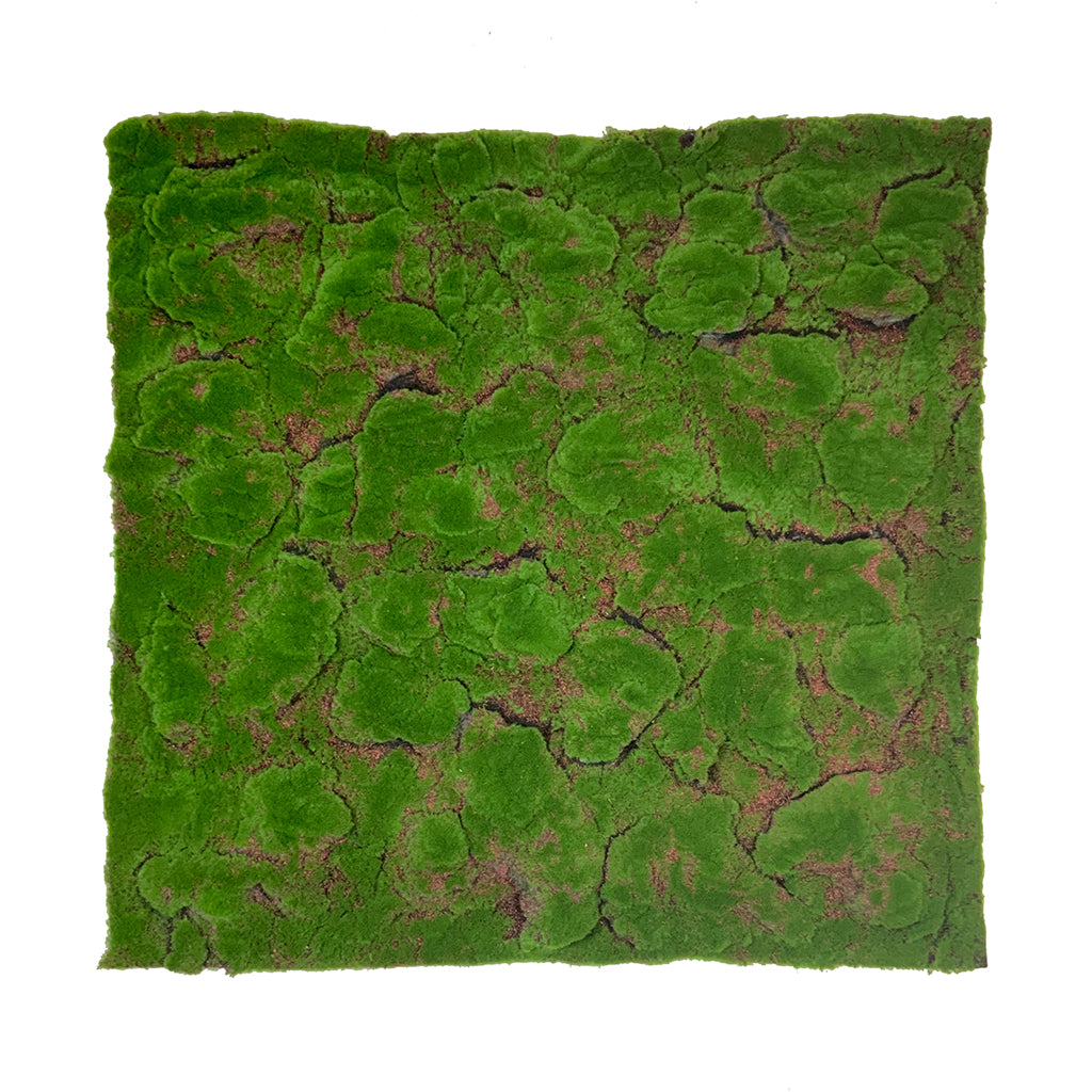 Artificial green flat-lumpy moss panel - www.greenplantwalls.co.uk