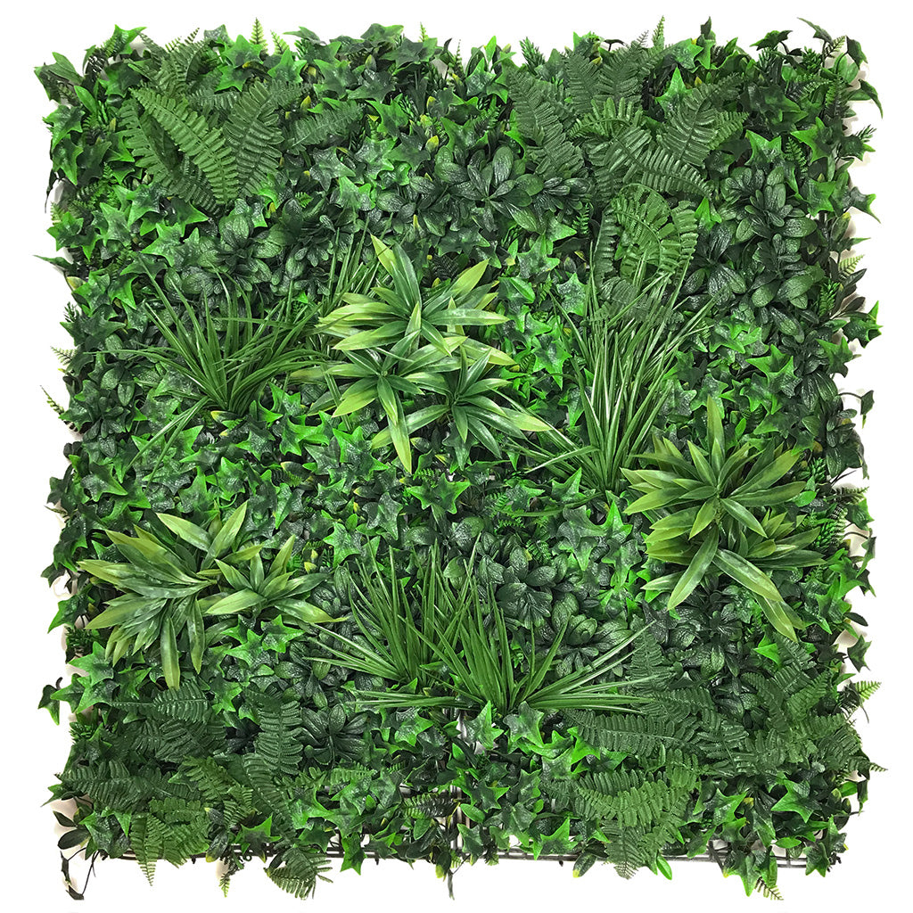 Artificial green wall panel with variegated foliage ivy palms grasses and ferns 100x100 cm - www.greenplantwalls.co.uk