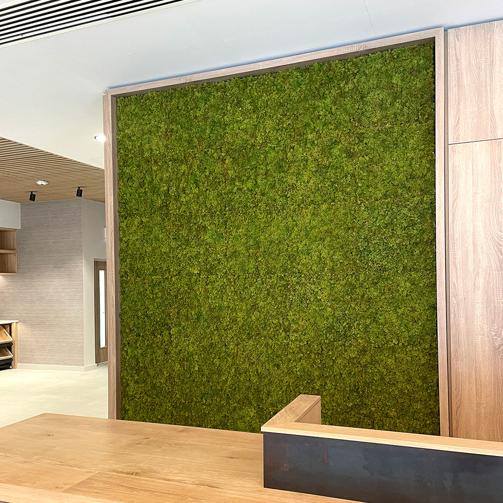 Artificial mixed green reindeer moss panel - fire retardant - 100x100cm