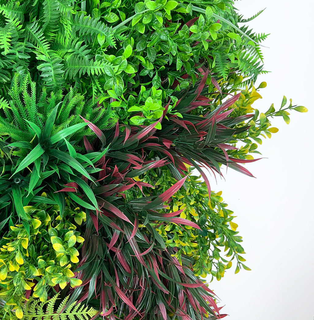 Artificial 3D plant wall with red foliage 100x54cm - www.greenplantwalls.co.uk