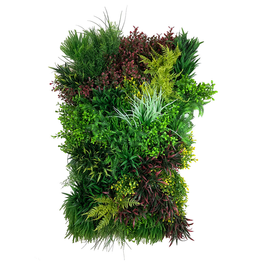 Artificial 3D plant wall with red foliage 100x54cm