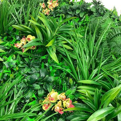 Artificial green wall panel with variegated foliage and lime green and red orchids 100x100 cm