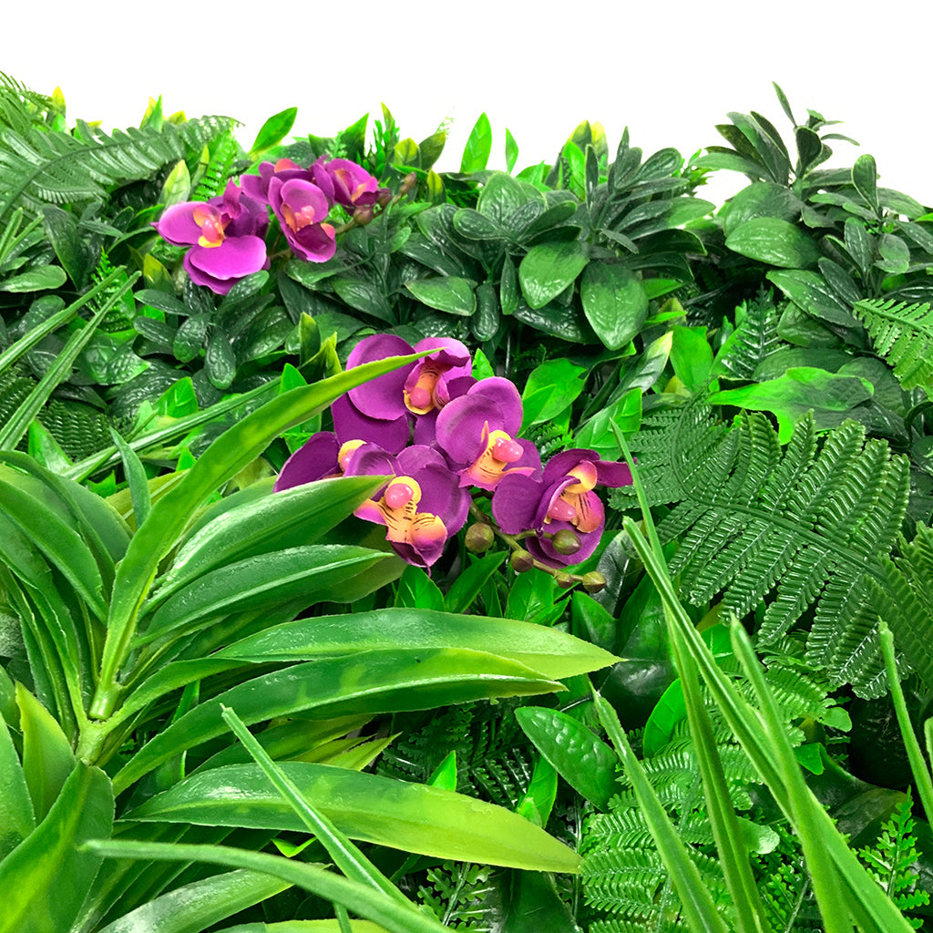 Artificial green wall panel with variegated foliage and purple orchids 100x100 cm - www.greenplantwalls.co.uk