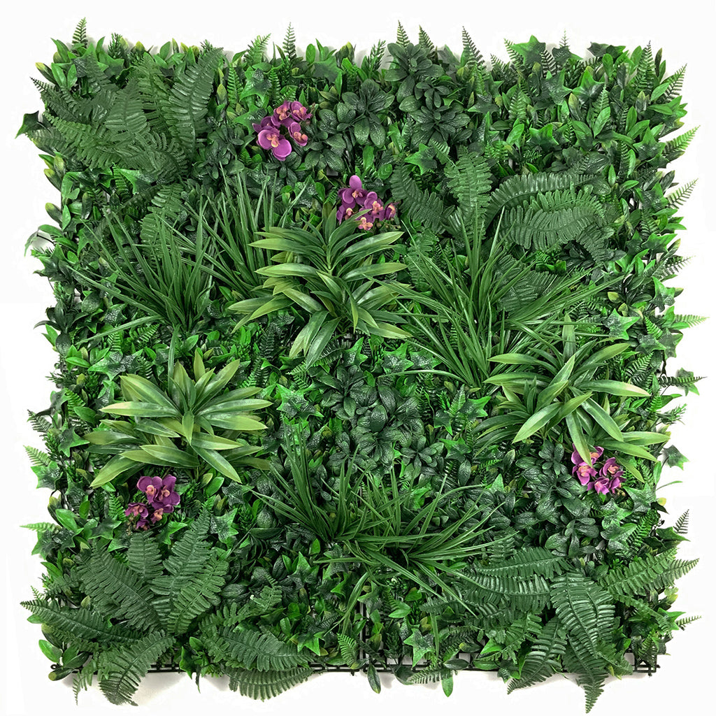 Artificial green wall panel with variegated foliage and purple orchids 100x100 cm
