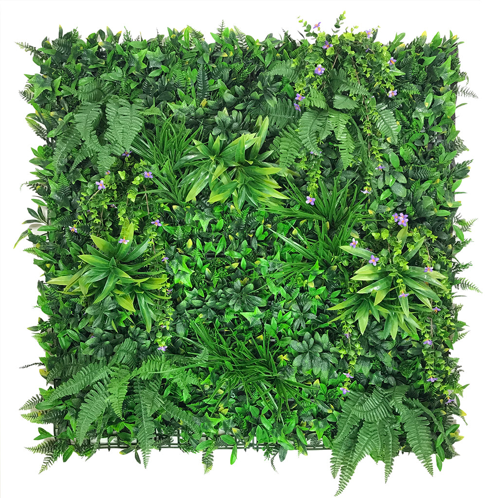 Artificial green wall panel with variegated foliage and trailing purple flowers 100x100 cm - www.greenplantwalls.co.uk