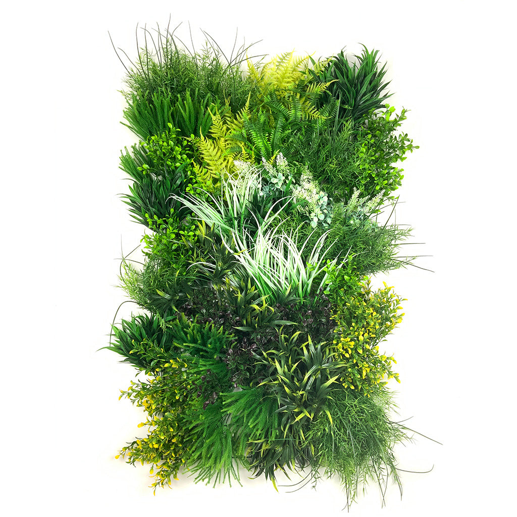 Artificial 3D plant wall with yellow, green, white foliage 100x54cm - www.greenplantwalls.co.uk