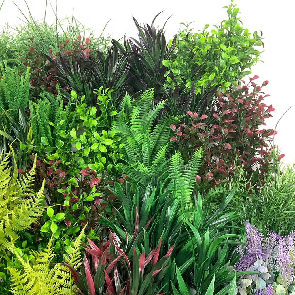 Artificial 3D plant wall with purple, yellow, green, red foliage 100x54cm - www.greenplantwalls.co.uk
