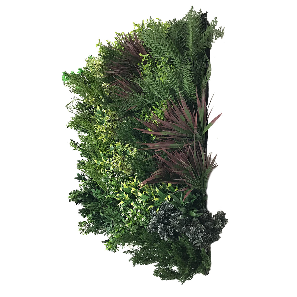 Artificial premium 3D plant wall with green, purple, red and white foliage - fire retardant - 100x100cm - www.greenplantwalls.co.uk