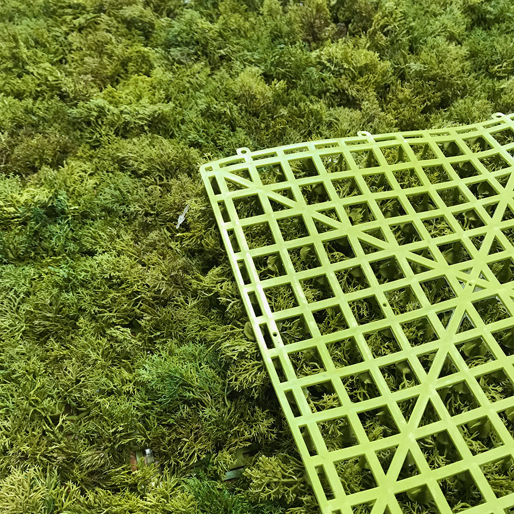 Artificial mixed green reindeer moss panel - fire retardant - 100x100cm - www.greenplantwalls.co.uk
