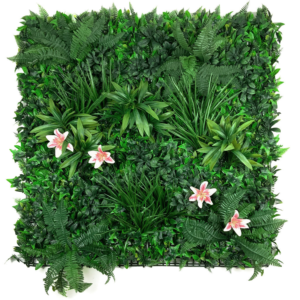 Artificial green wall panel with variegated foliage and pink tiger lillies 100x100 cm