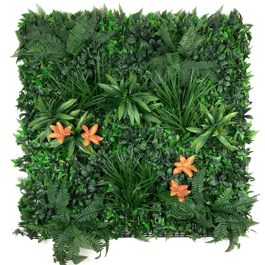 Artificial green wall panel with variegated foliage and orange tiger lillies 100x100 cm