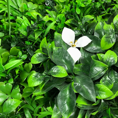 Artificial green wall panel with mixed foliage palm heads and white flowers 100x100 cm