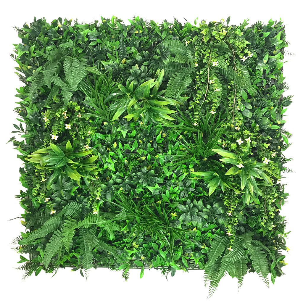 Artificial green wall panel with variegated foliage and trailing white flowers 100x100 cm - www.greenplantwalls.co.uk