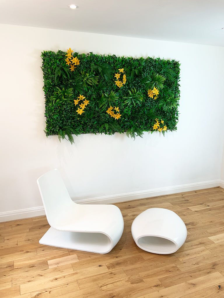 Artificial green wall panel with variegated foliage and classic yellow lillies 100x100 cm - www.greenplantwalls.co.uk