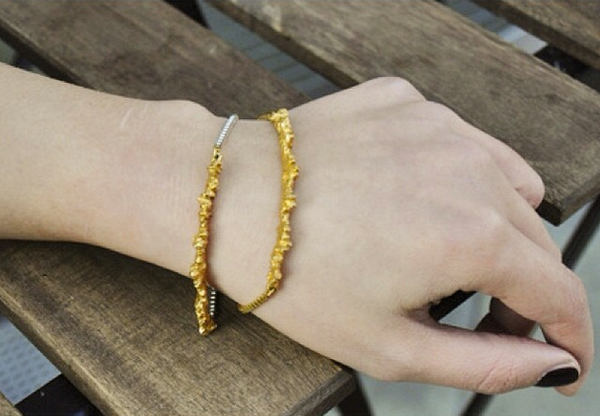 UNDER EARTH Texture Bracelet - Silver&Gold
