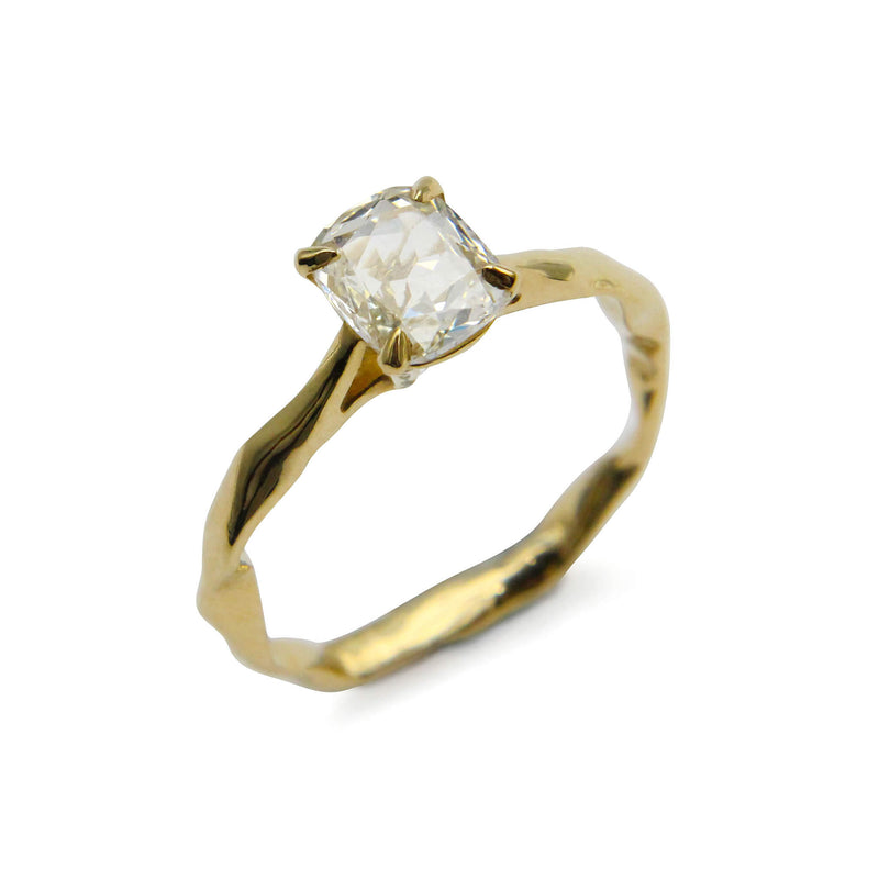 Cushion rose cut white diamond ring 18ct yellow gold