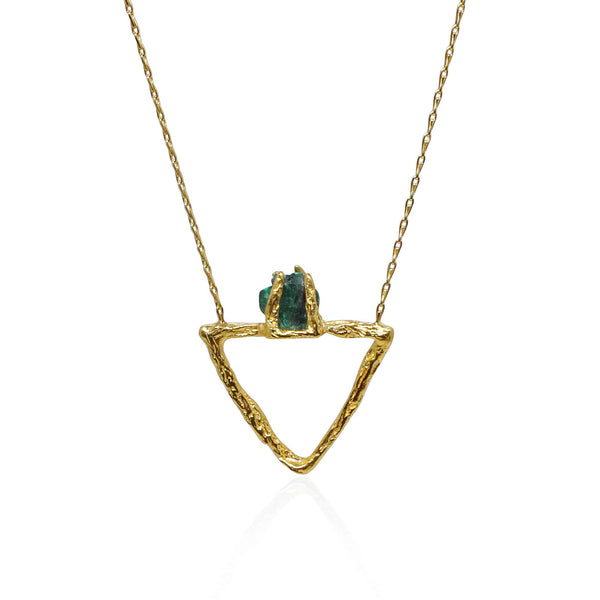 Malachite Small Delta Gold Necklace