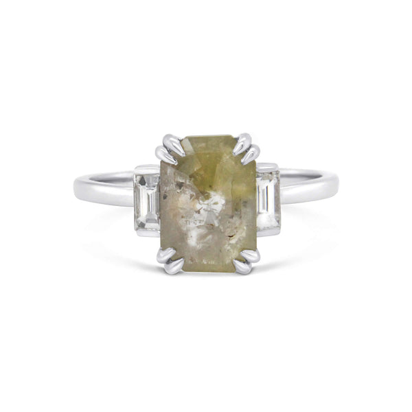 Emerald cut yellow salt & pepper diamond 18ct white gold ring