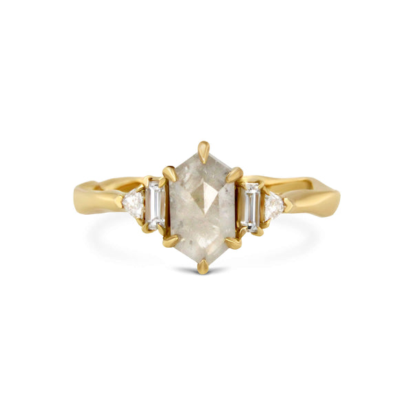 Hexagonal 5 stones 18ct yellow gold ring