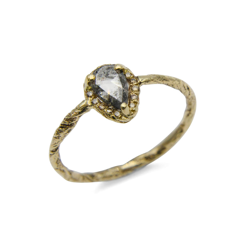 Pear cut grey diamond texture ring in 9ct gold